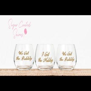 Bridal Shower Custom Hubby Bubbly Wine Glasses